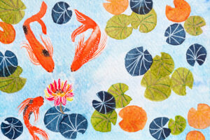 Three koi fishes and lotus flower illustartion-art print