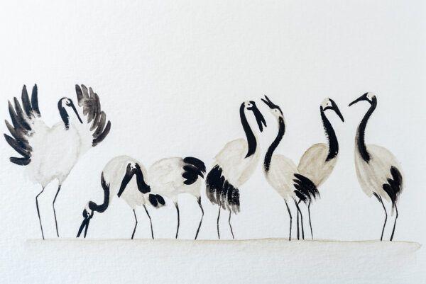 Lucky seven crane birds painting-art print