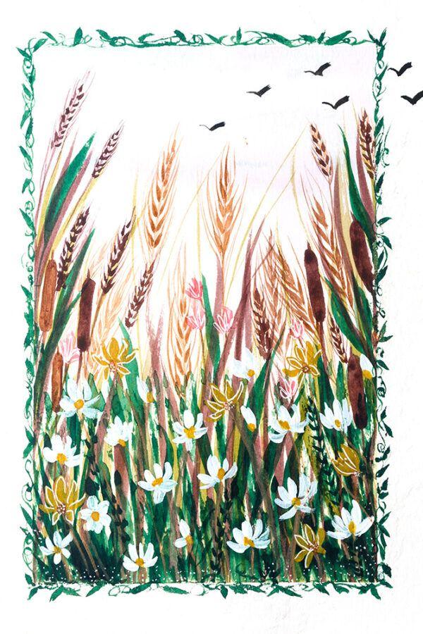 Floral landscape painting-art print