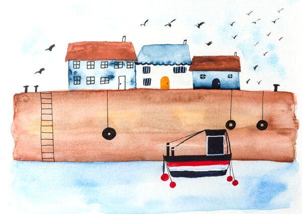 Coastal little village-art print