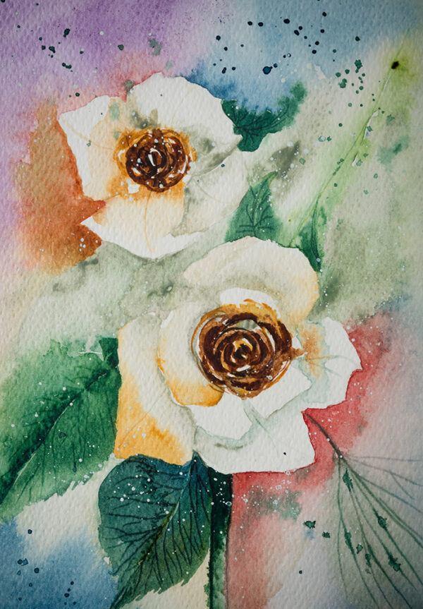 White roses painting-art print