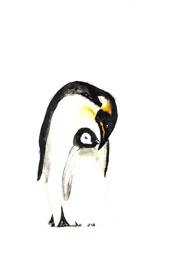 Father and baby pengiun watercolour painting