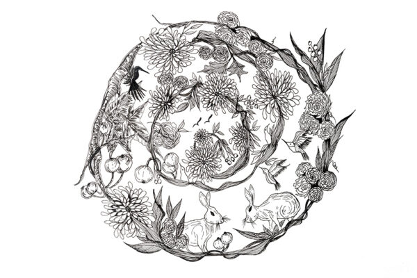 Wild life doodling wreath-art print