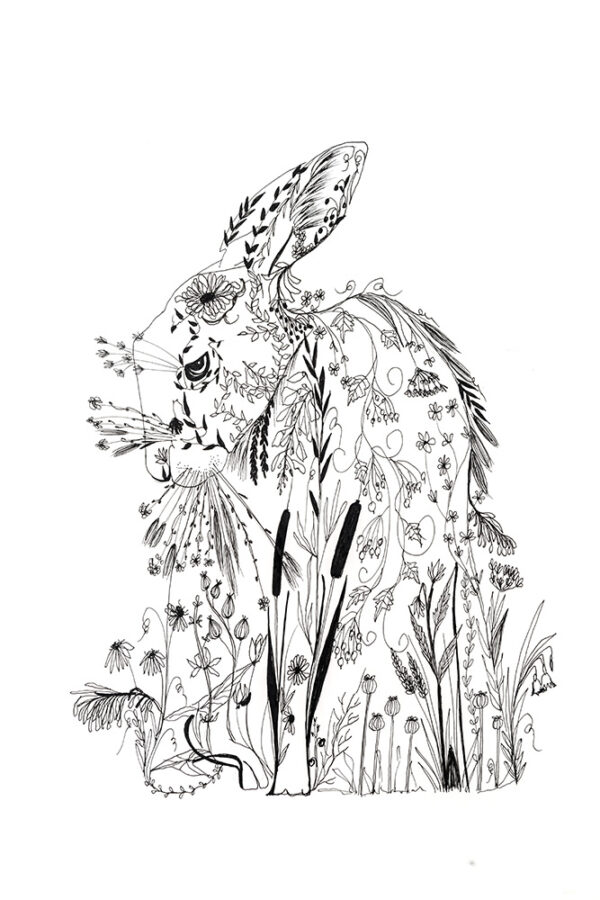 Botanical Hare Art-art print