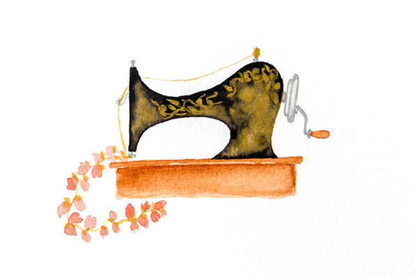 Black and gold watercolor sewing machine-art print