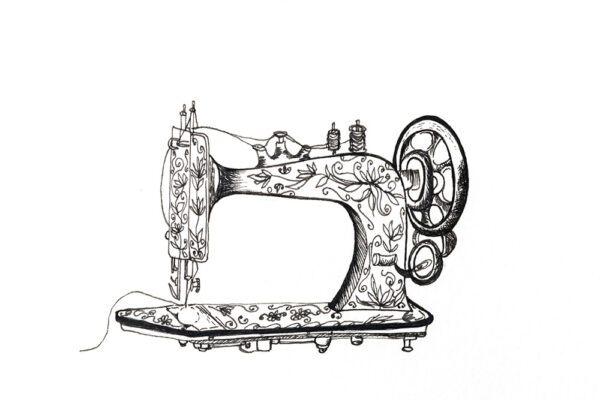 Botanical ink sewing machine drawing-art print