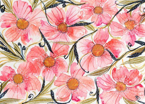 Pink floral pattern art-art print