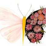 Delicate botanical butterfly-art print
