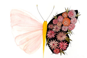 Delicate botanical butterfly