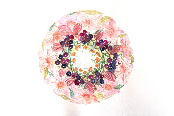 Pink floral and berries wreath- art print