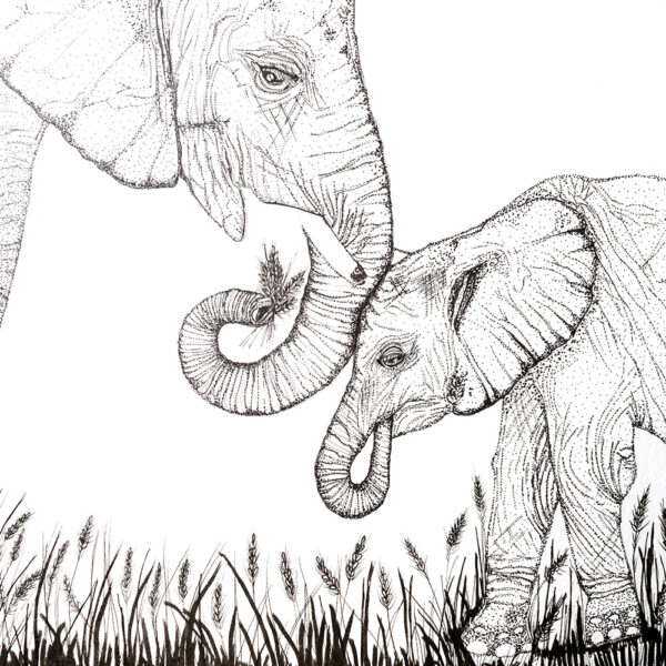 Mother and baby elephant dot work art