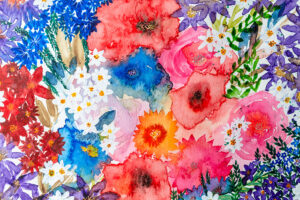 Bright pink, blue and red floral painting-art print