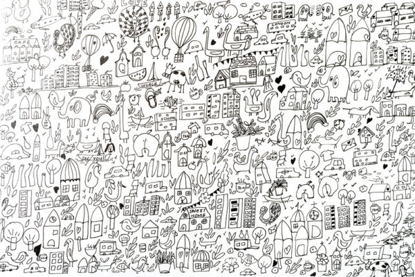 A city lockdown doodling art-art print