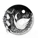 Moon, flower and rhe swan