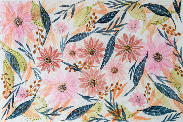 Shades of pink and indigo floral art pattern-art print