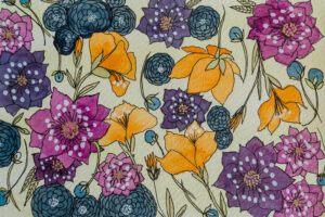 Purple, indigo floral pattern painting-art print