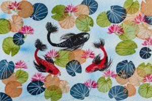 Lucky three koi fish and lotus flower painting