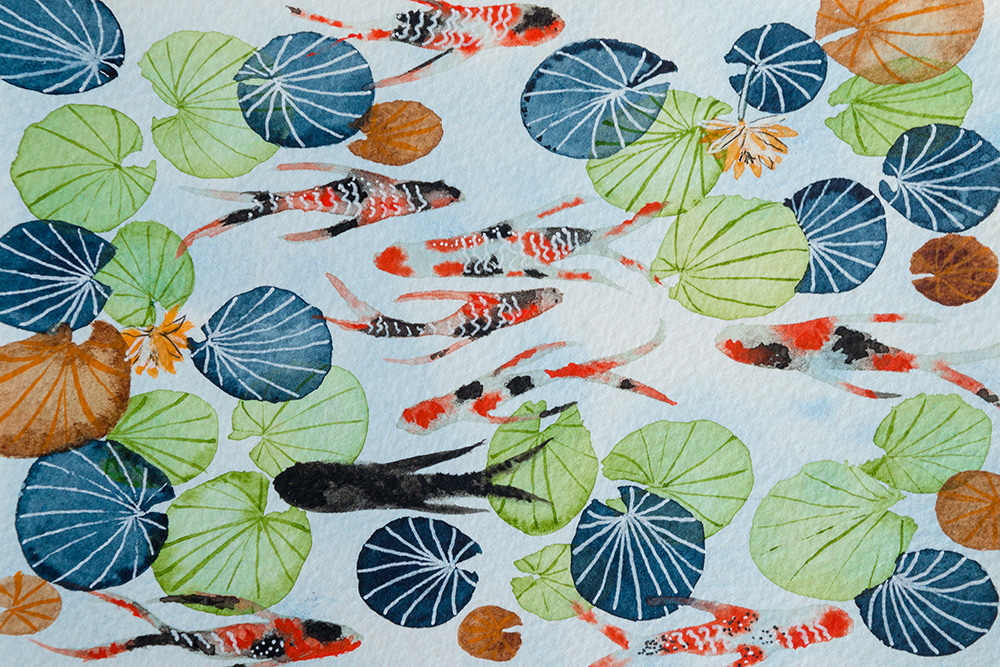 Lucky seven koi fish and lotus flower painting