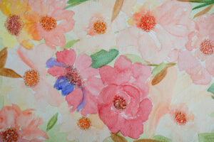 Pink and peache floral pattern illustrations-art print