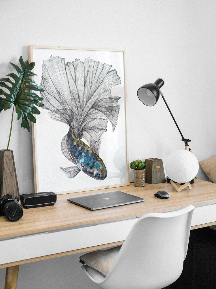 Beatta fish blue and gold wall art-art print
