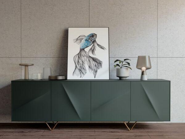 Beatta fish sky blue and silver art-art print